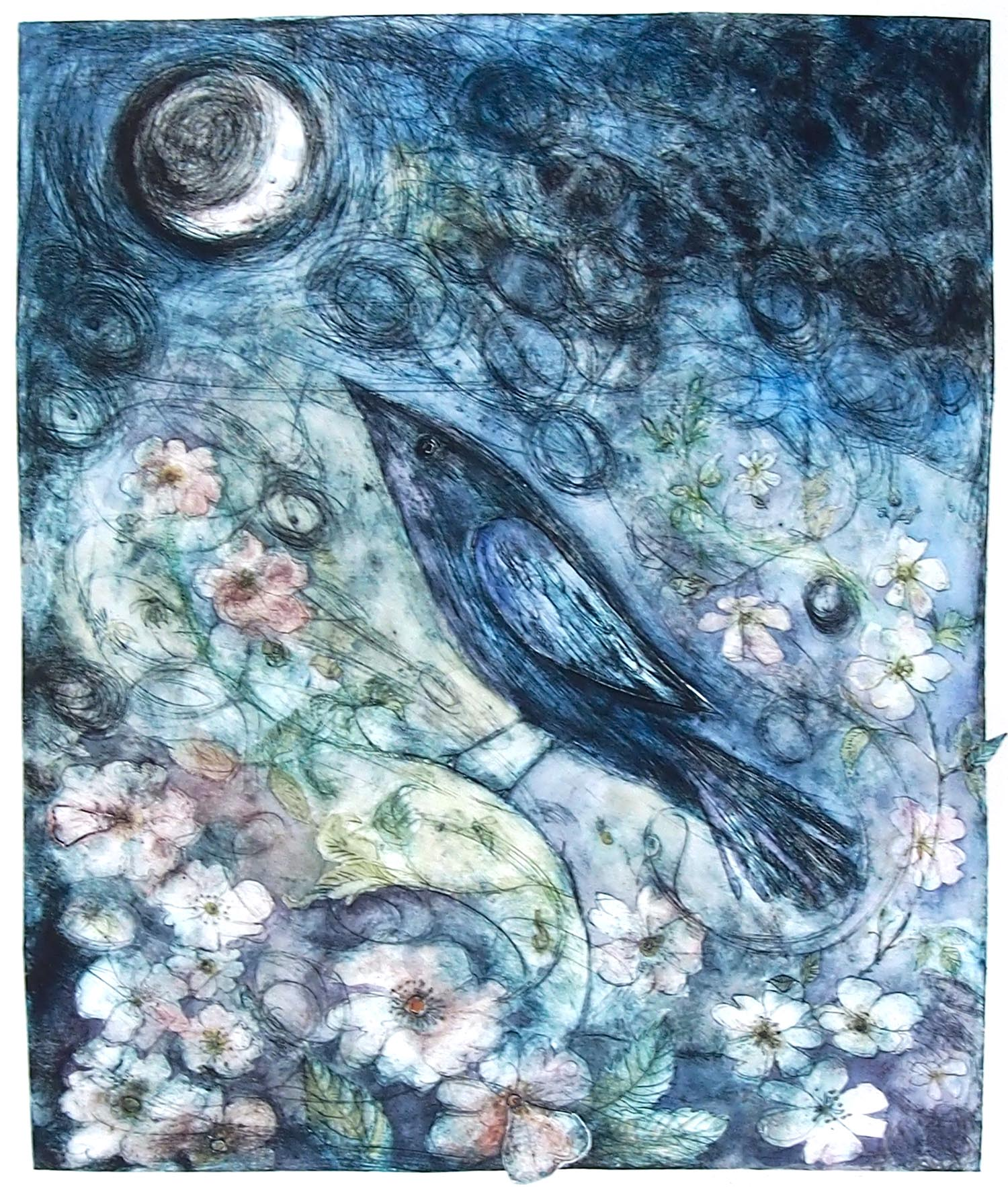 Grey Moon Bird - handcoloured drypoint image 50x41cm framed 63x74cm £240