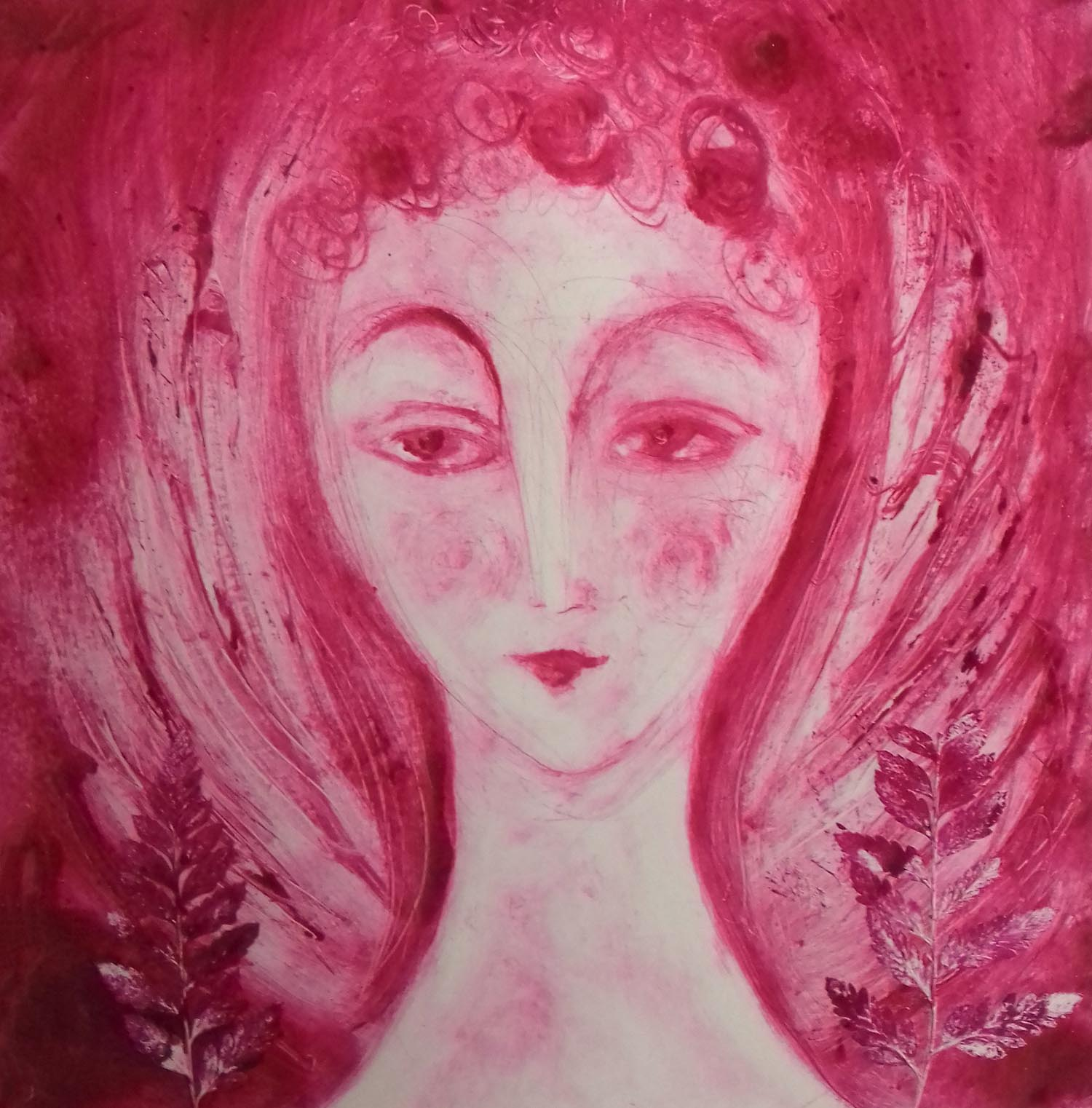 Pink Angel 2 - handcoloured drypoint image 24x26cm mounted 50x50cm £145