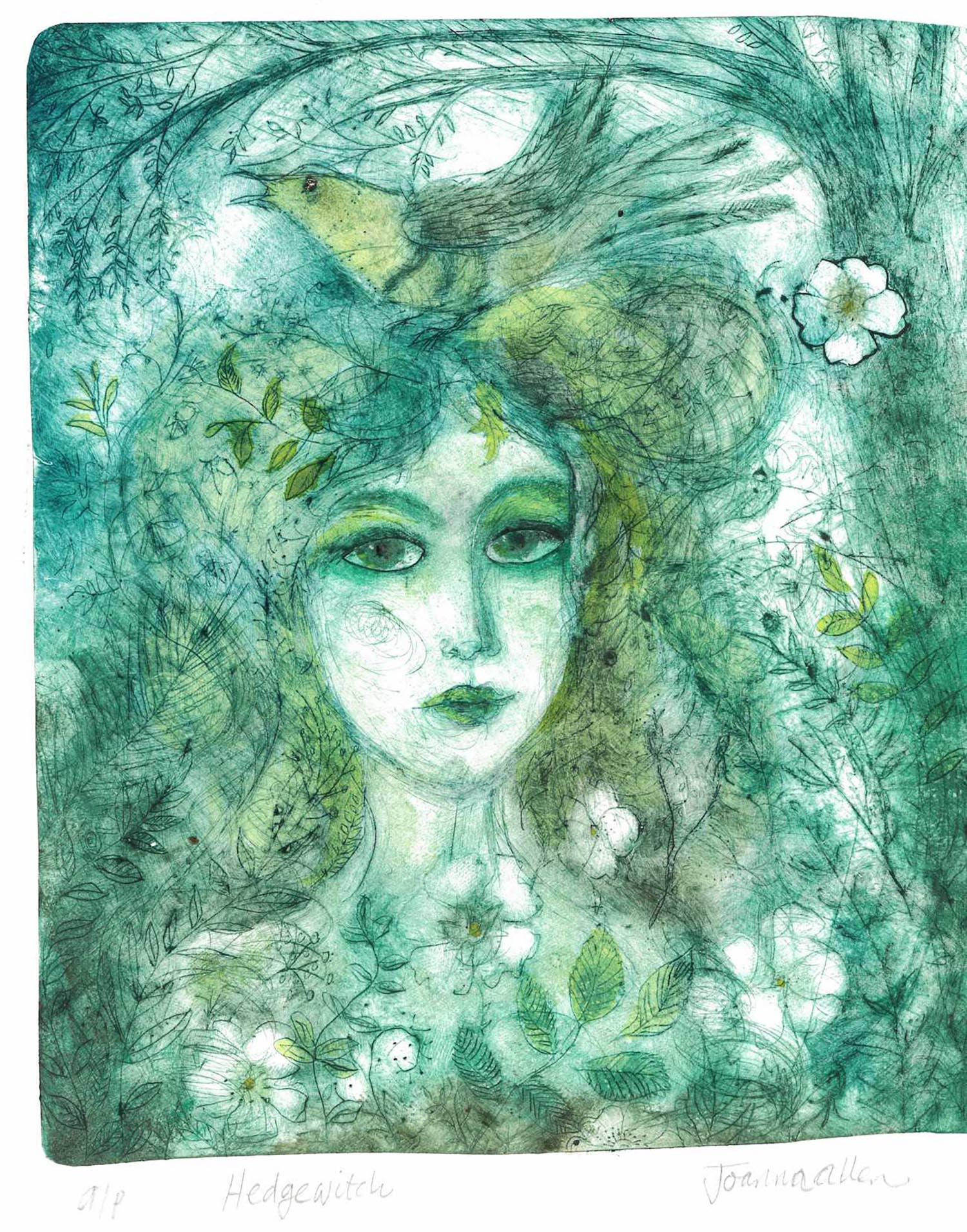 Hedgewitch Green - handcoloured drypoint image 21x24cm framed 37x43cm £170