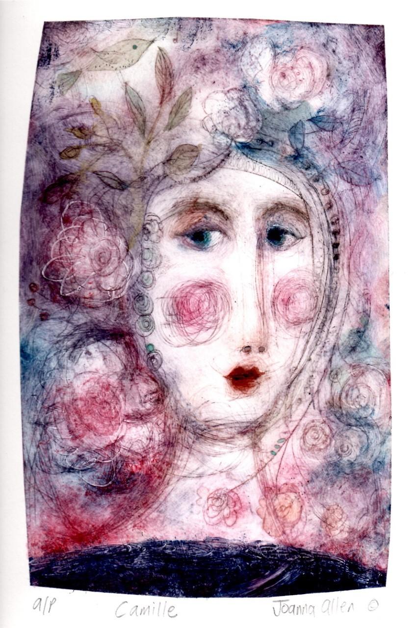Camille Pinks - handcoloured drypoint image 20x14cm framed 30x29cm £145