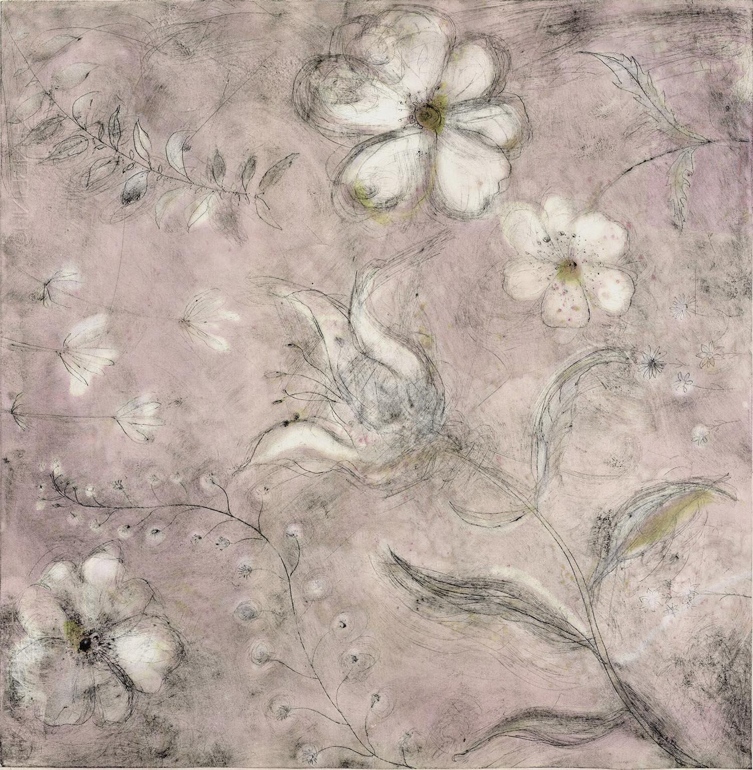 Vintage Petals - handcoloured drypoint image 48x49cm pale oak framed 60x64cm £225