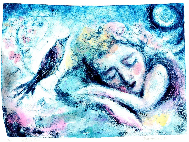 Belle De Nuit - handcoloured drypoint image ??x??cm mounted ??x??cm £150