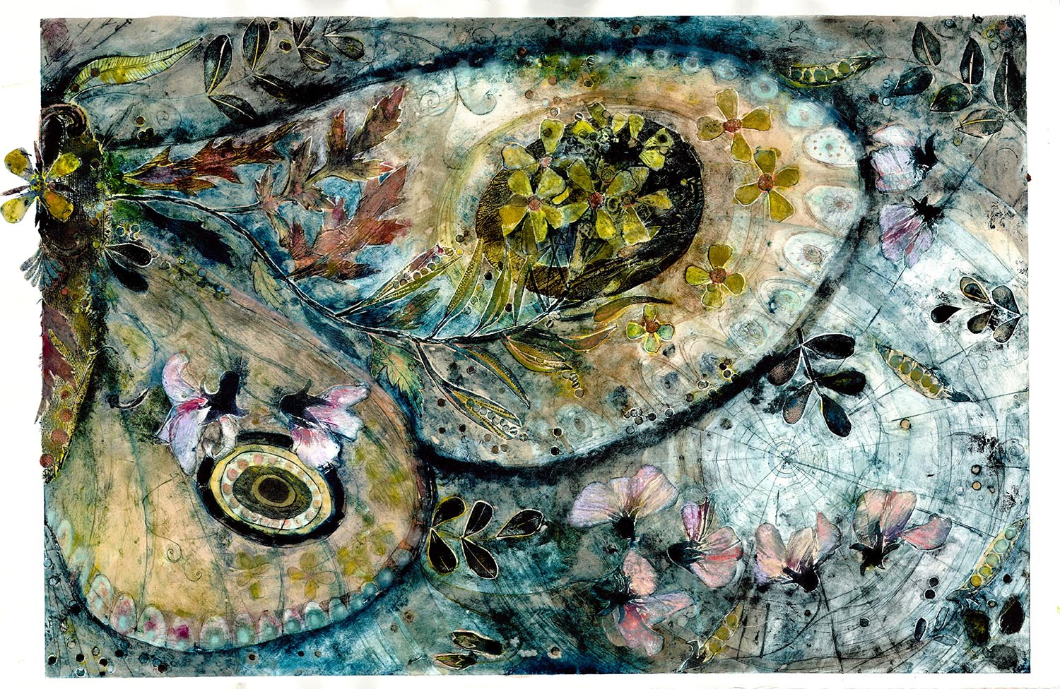 Moth - handcoloured collagraph image 70x45cm white wood framed 91x97cm £495