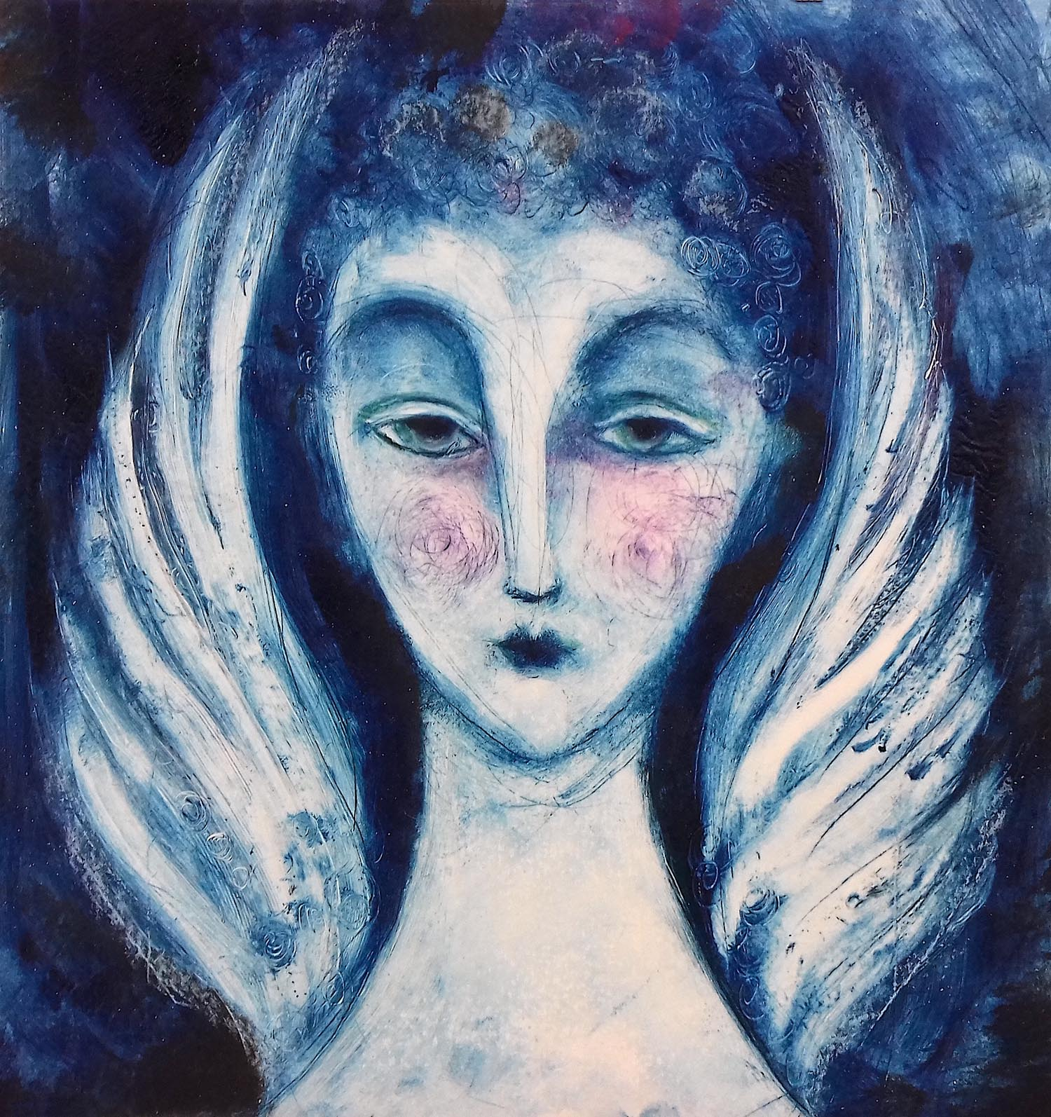Blue Angel 5 - handcoloured drypoint image 24x26cm mounted 50x50cm £145