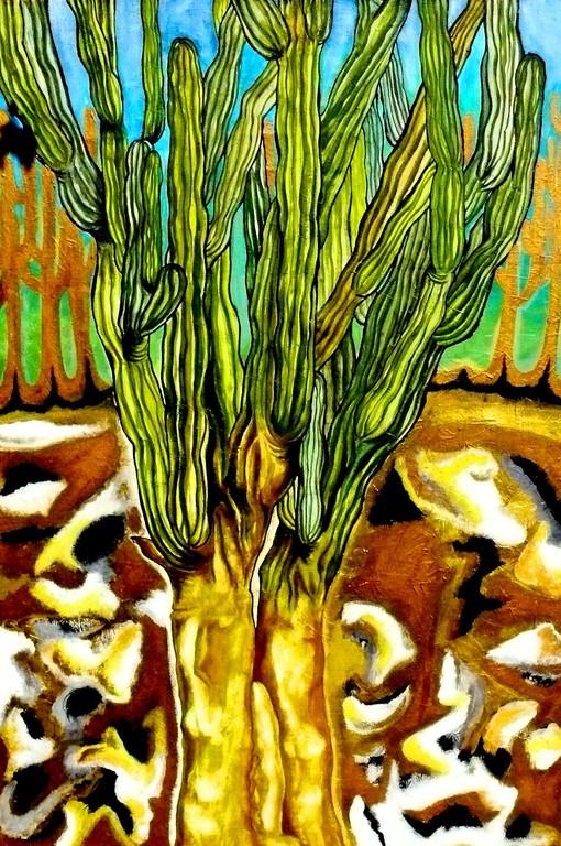 Viejo en la playa. Acrylic on canvas. 2009. Mermejita 78X87