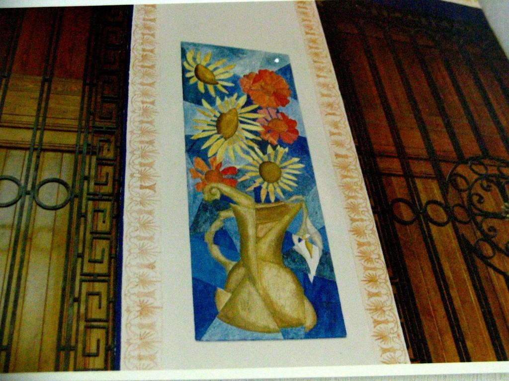 Cenefas y mural cubista. restaurante. Las columnas. Mexico 1996