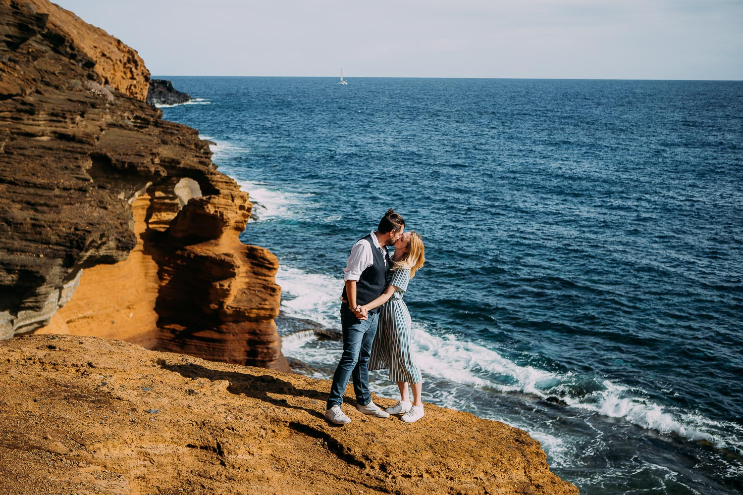 Beach engagement photosession on Playa Montana Amarilla in Tenerife, Canary Islands