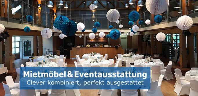 Grafik/Fotomontage: Mietmöbel & Eventausstattung clever kombiniert - z.B. Möbel, Zelte, Bühnen, Geschirr, Bestecke bei eventmoebel24.de