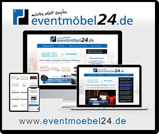 """Grafik: Fotomontage """"Webrelaunch bei eventmöbel24.de"""" - Mietmöbel, Fest- und Partyzeltverleih und Event-Ausstattungen in Hamburg, Schleswig-Holstein, Lüneburg, Niedersachsen"""