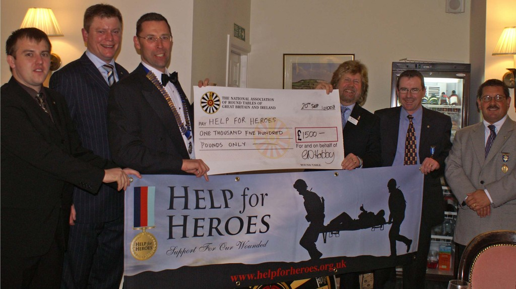 Past Tablers night. We presented a cheque for Help For Hero's
