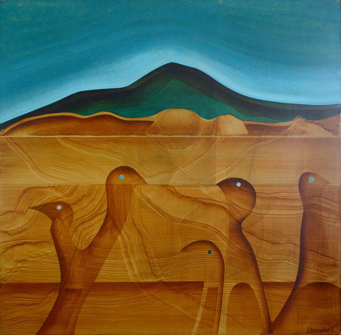 Oiseaux en promenade, 1992, 98 x 98 cm, huile sur panneau