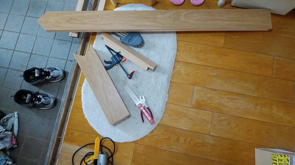 ナラ上框 施工に十分な幅が確保できない場所に施工するため2分割に