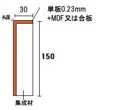 材木屋オンラインショップ 玄関框 付框の断面図