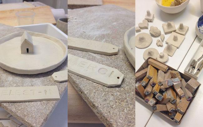 Nathalie / Fabrication d'une coupelle et étiquettes en porcelaine