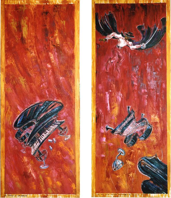 Zorro redt de dronken piano, oil on canvas