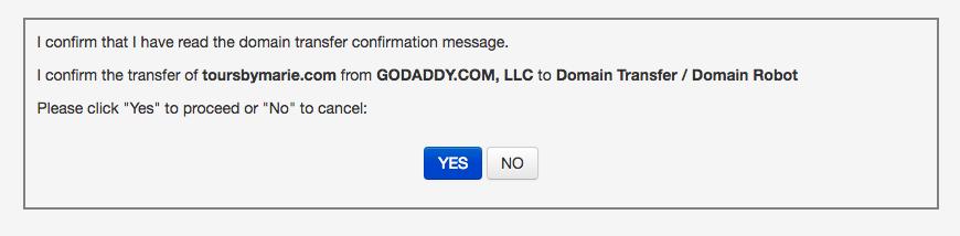 Une des nombreuses étapes de la procédure de transfert du domaine entre GoDaddy et Jimdo