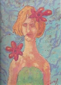 Jeune avec fleur rose
