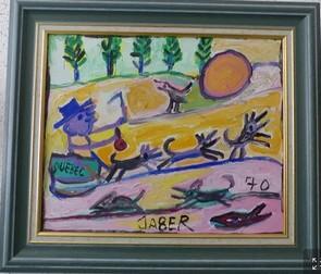 Un des tableaux de Jaber exposé dans la galerie du collectionneur (Ph. Alain Guyomard)