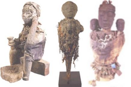 Fétiche avec crâne (Fon Bénin) Petit fétiche avec enfant et cadenas (Fon, Bénin) Statue assise (Fon, Bénin)