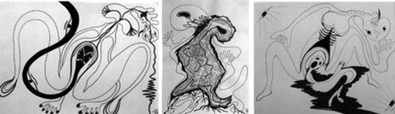 """""""L'autre rivage s'appelle l'amour de soi"""" Paulette Maudire (Pastels encres sur papier 1976)"""