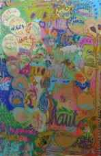le tableau signé par tous les participants sur plexiglas d'anaka : hommage à jacques pilon