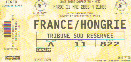 TICKET France vs Hongrie 2005