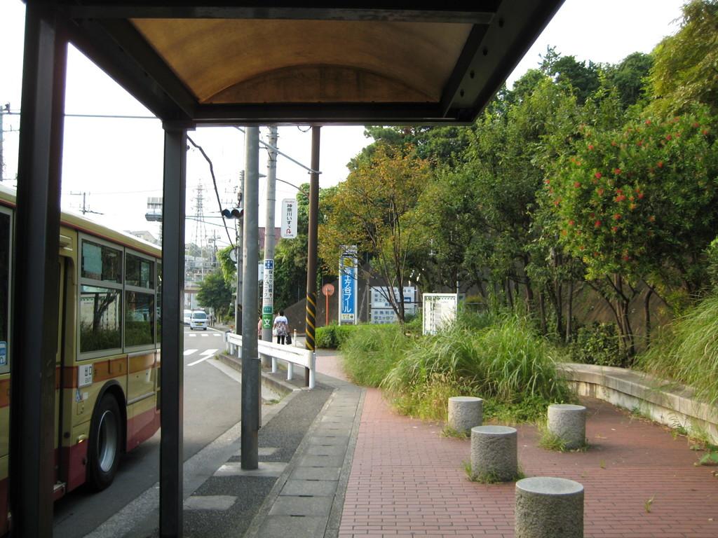 バスの進行方向と逆に 坂を下ります