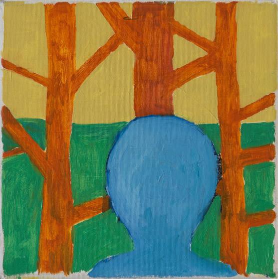 O.T. (blauer Kopf) / 2015 / 25x25 cm / Öl und Acryl auf Leinwand