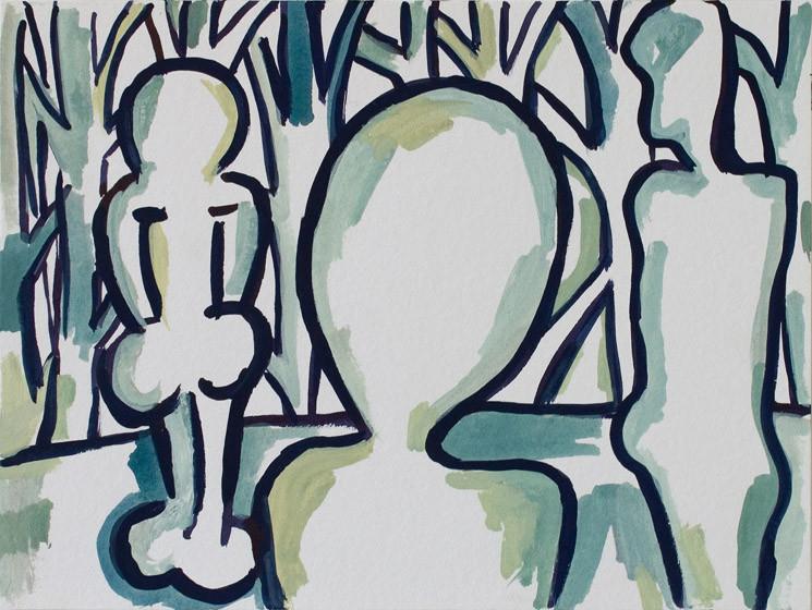 O.T. (chromatisch) / 2015 / 24x32 cm / Gouache und Tusche auf Aquarellpapier