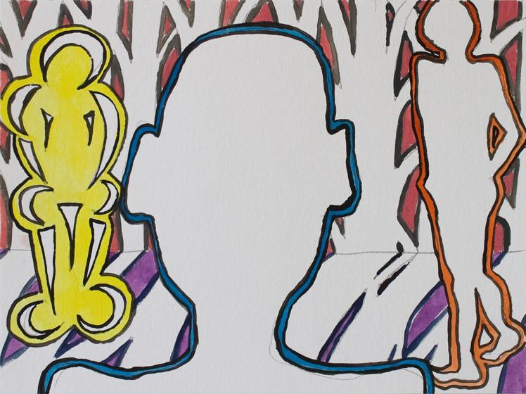 O.T. (futuristisch) / 2015 / 30x40 cm / Gouache, Tusche und Bleistift auf Aquarellpapier