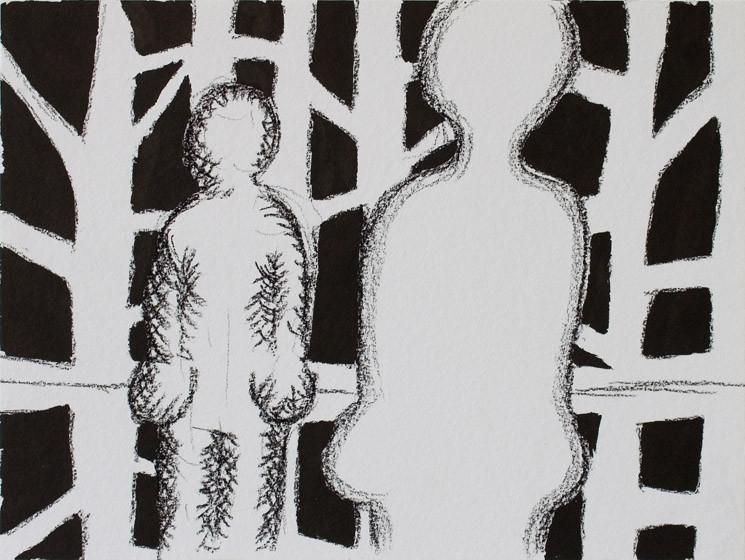 Spiegelwald (s/w) / 2015 / 24x32 cm / Tusche und Kohle auf Aquarellpapier