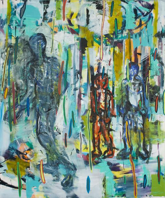 Draußen im Regen / 2014 / 180x150 cm / Öl und Acryl auf Leinwand