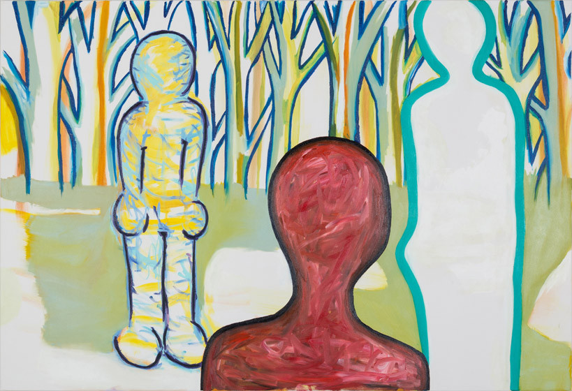 Ich, Du und die Anderen (roter Kopf) / 2015 / 150x220 cm / Öl und Acryl auf Leinwand