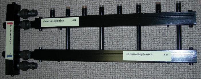Коллектор отопления 4 контура с гидрострелкой