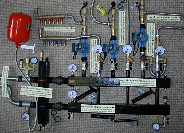 Схема системы отопления частного дома с контуром для теплых полов