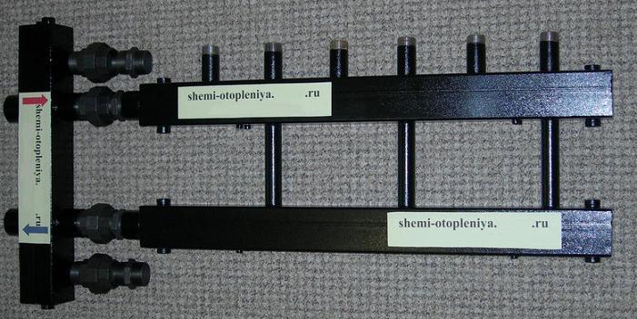 Коллектор отопления 3 контура с гидрострелкой
