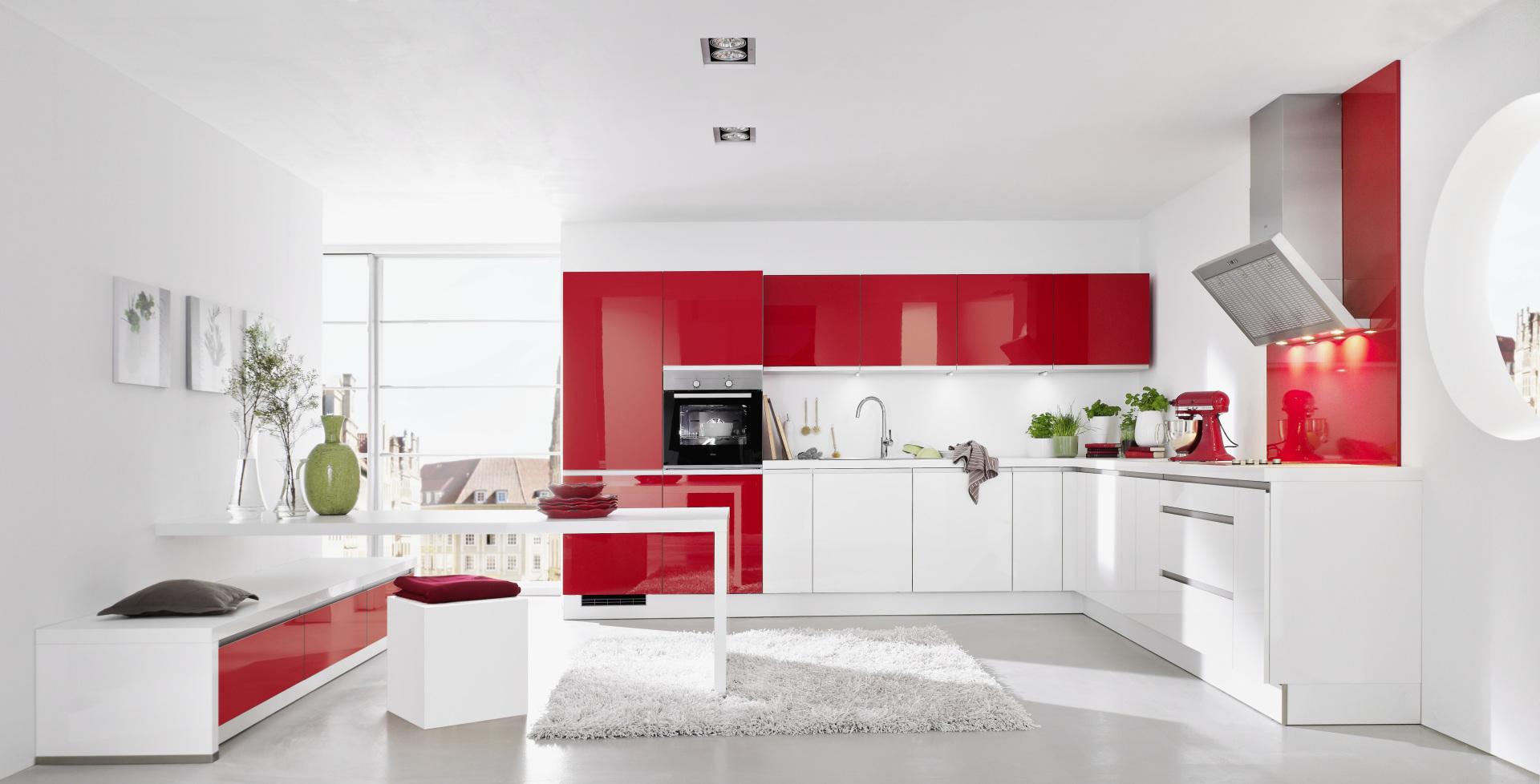 Nolte Keukens Rotterdam - Trend-Lack - softmat - Rood-Wit