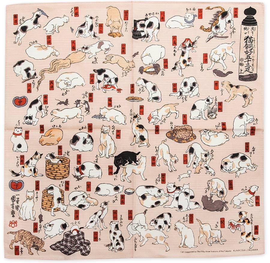 """Art.No.7) """"Cats, Tokaido Road"""" by Kuniyoshi"""