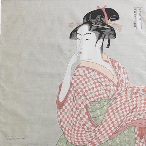 "Art.No.5)""Woman blowing a Glass Toy"" by Utamaro"