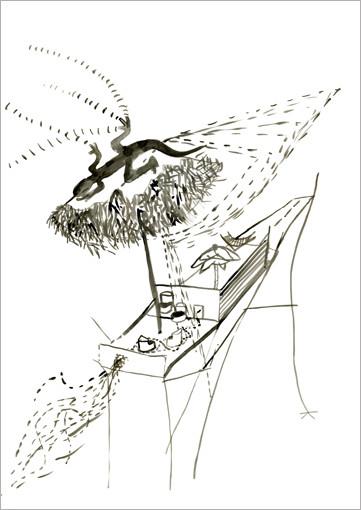 Salamandra, 2007, Tusche auf Papier, 59,4 x 84 cm