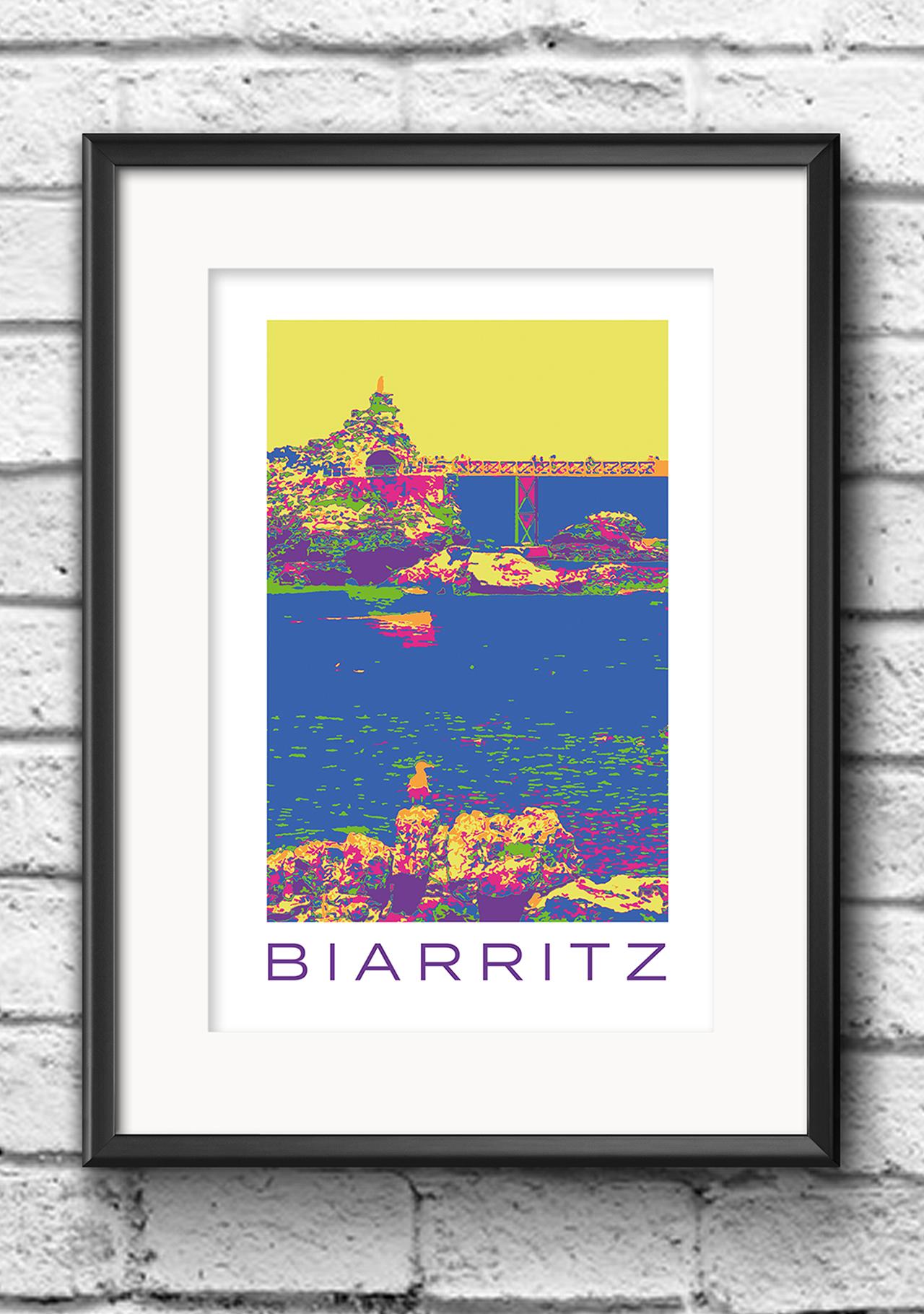 Modernes Wandbild Poster Popart Style Biarritz Frankreich Rocher de la Vierge bunt