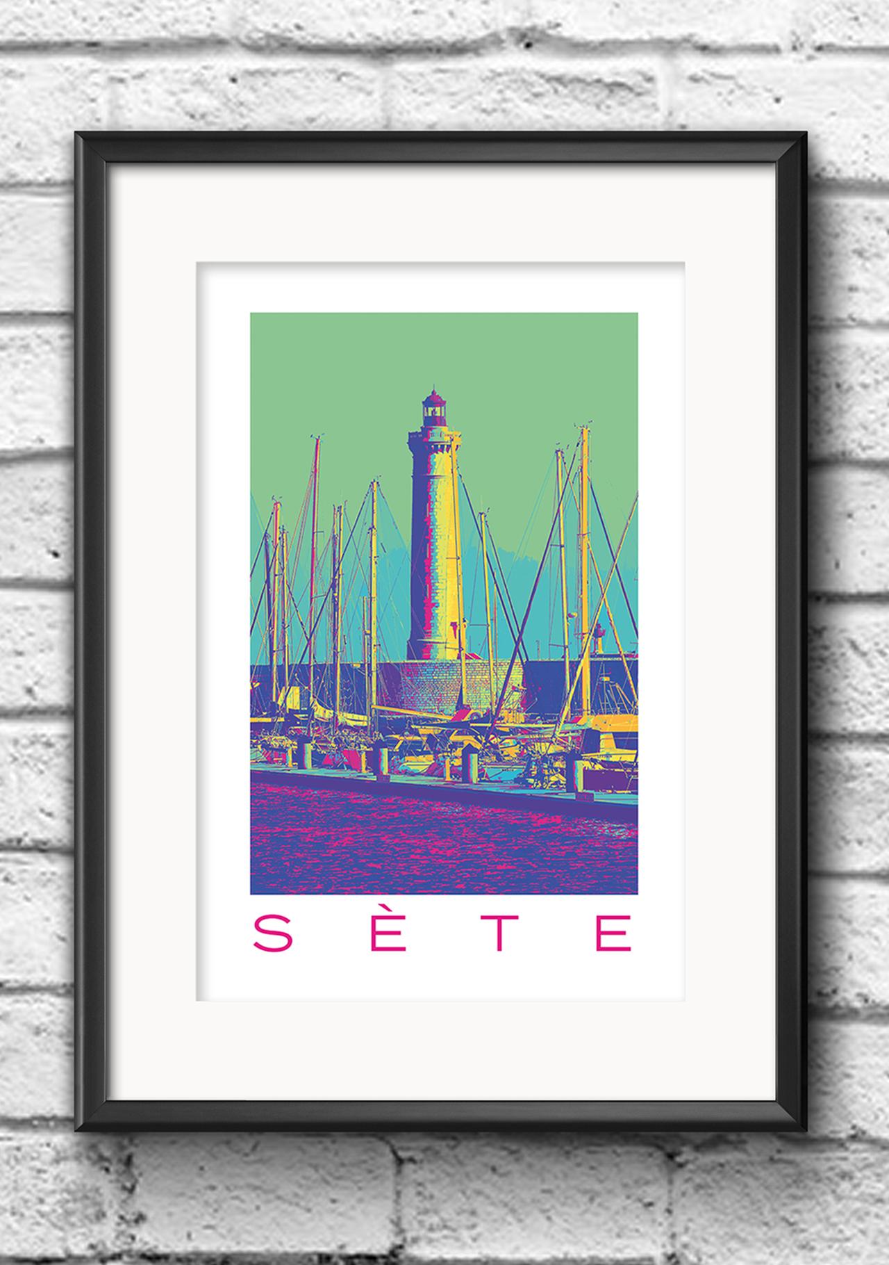 Modernes Wandbild Poster Popart Style Sete Frankreich Leuchtturm bunt