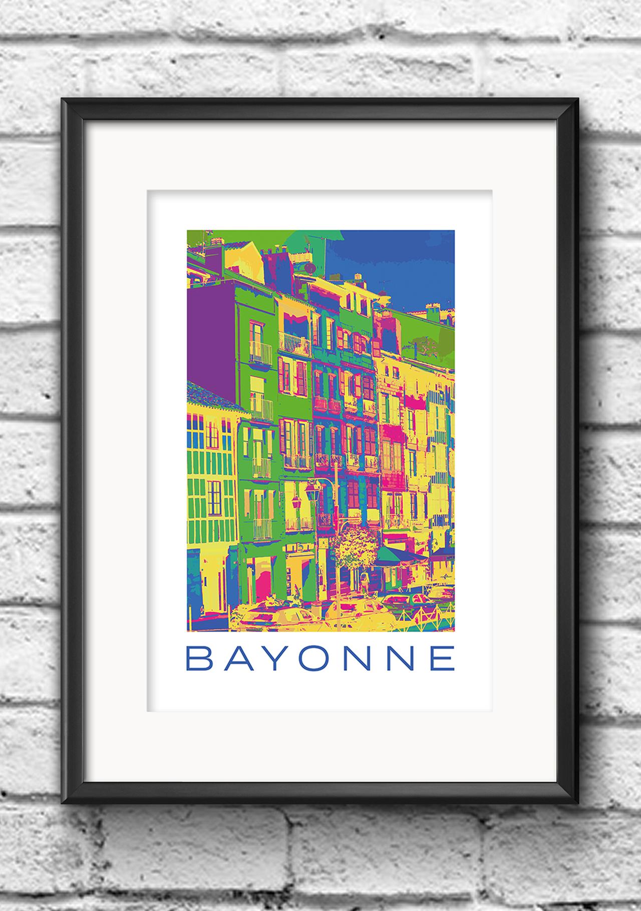 Modernes Wandbild Poster Popart Style Bayonne Frankreich Häuserfront bunt