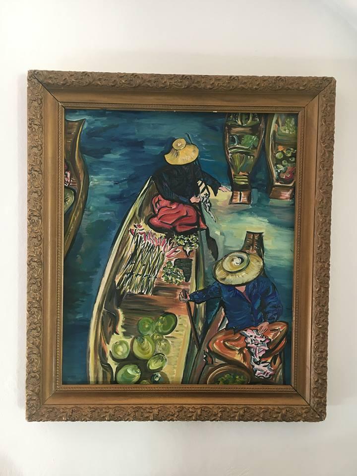 Malerin: ©Monika Waldkirch ,  Titel:  Kommunikation auf dem schwimmenden Markt,  Technik: Öl auf Leinwand /mit Kohlevorzeichnung, Datum: Juni 2013