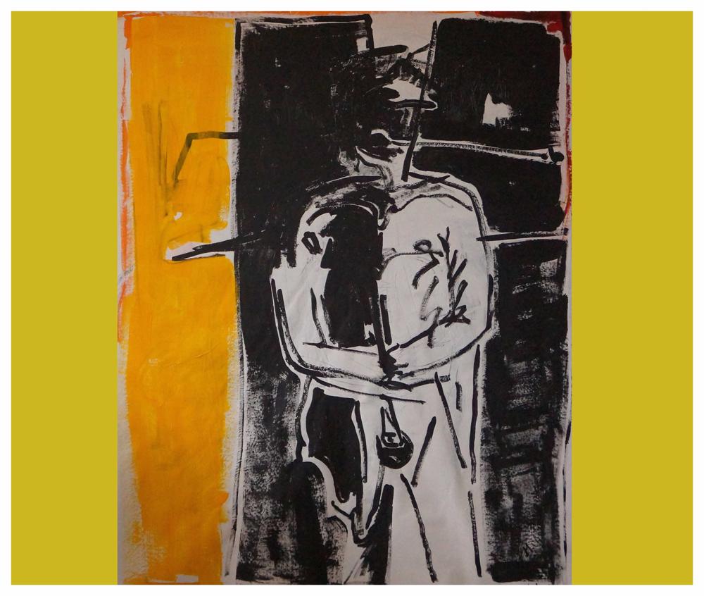 Der stehende Mann, Acryl, Copyright by Martin Uebele