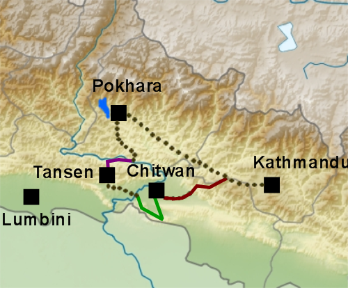 Carte générale du Népal, plan voyage Népal