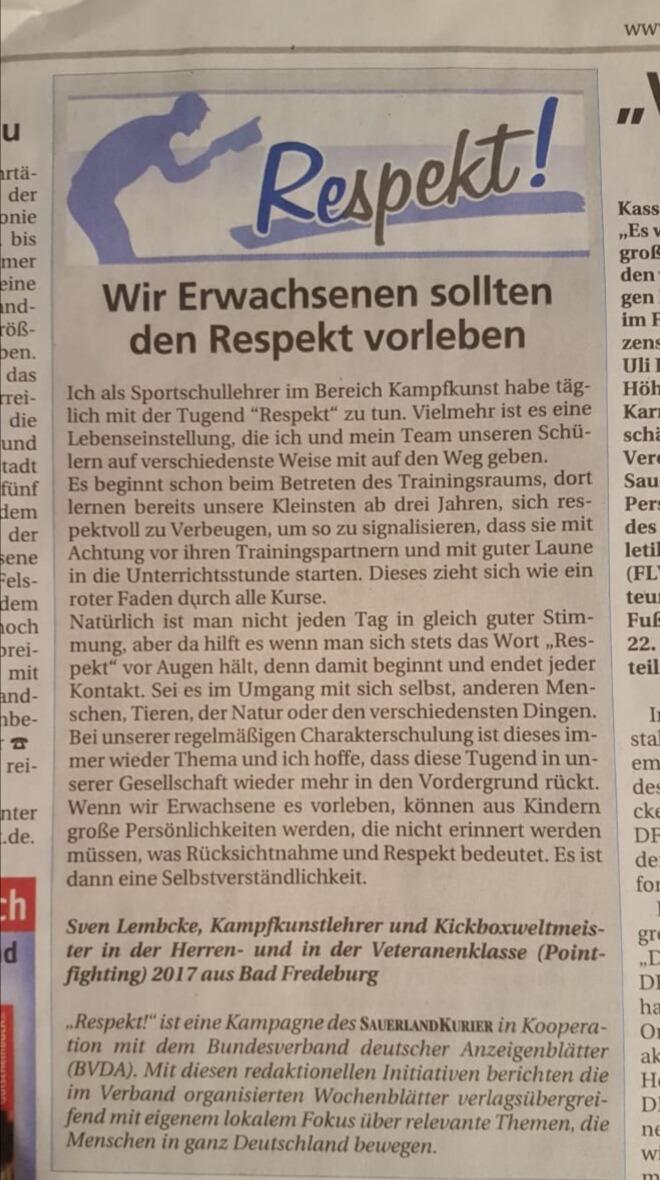 Zeitungsartikel im Sauerlandkurier