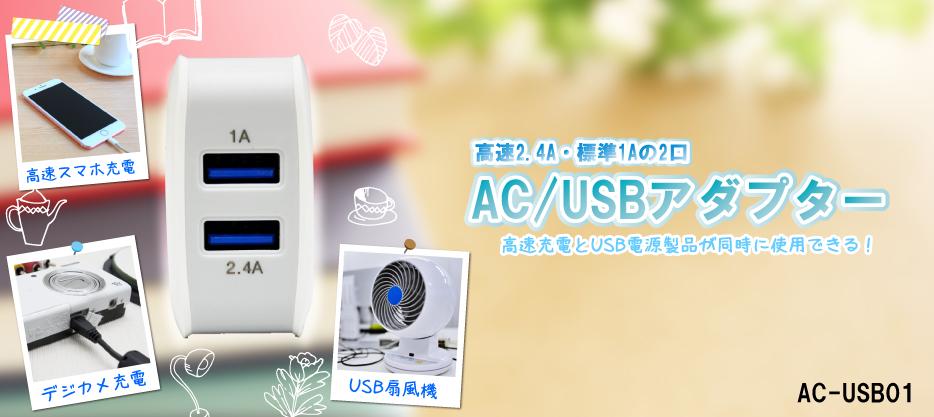 電源 アダプター AC USB 2口 2 便利 同時 タイタン 足利