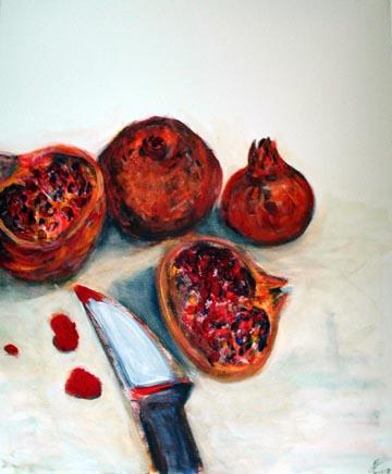Granatäpfel symbolisieren die verbotene Frucht und Erbsünde des Menschen. Das Fruchtfleisch des Granatapfels erscheint wie ein mit Blut verschmiertes Neugeborenes.