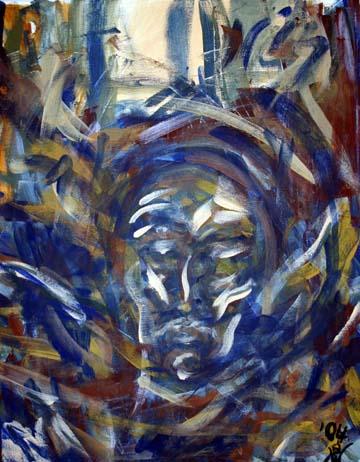 expressiv realistisch gemaltes Gesicht eines fallenden Engels